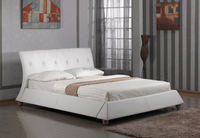 Solid Wooden Frame d Curved Headboard White PVC Latest Double Bed Design