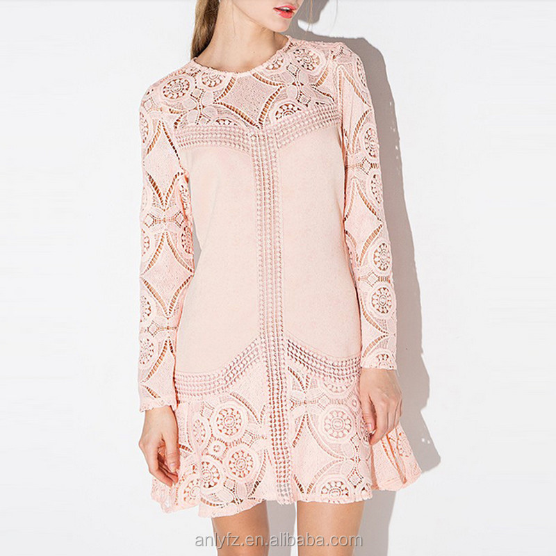Anly good price fashion sweet perspective fit long sleeve crochet lace dress for ladies