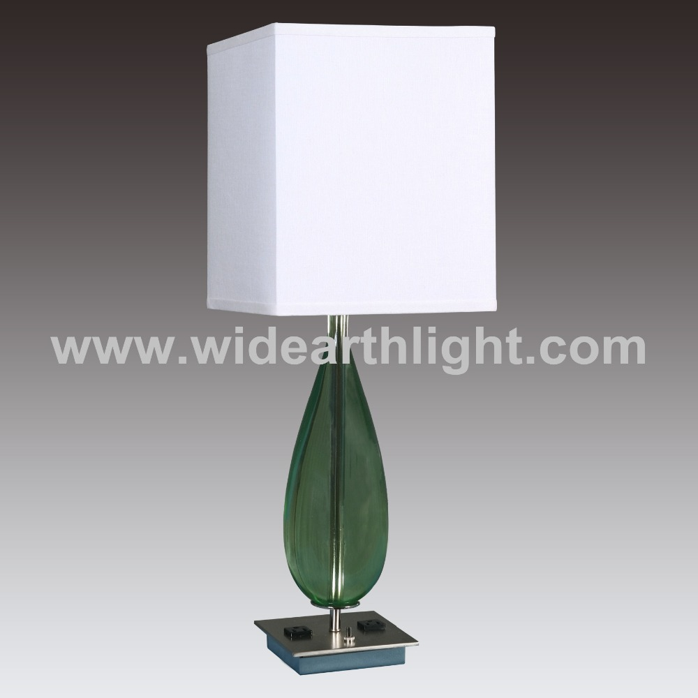 UL&CUL Square Shade And Base Green Glass Hotel Lamps With Electrical Outlets For Bedroom T20037