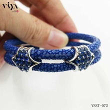 brand new idea design royal blue ray leather blue CZ stones genuine stingray leather bracelet two hand wrapped handmade bangle