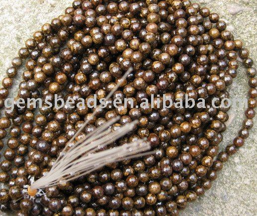 Top quality bronzite round beads