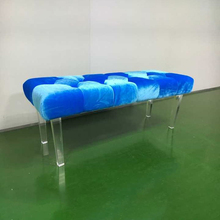 Elegant Design Acrylic Bedroom Lounge Chairs Blue Lucite Bench Chiars