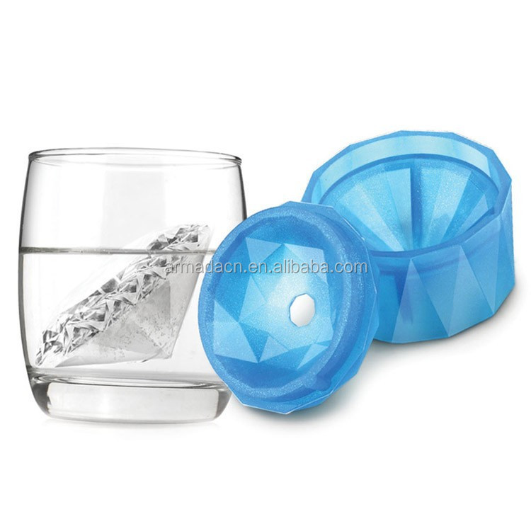 Cool summer hot sell diamond design silicone ice cube tray with lid