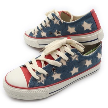 Metal loop star pattern simple style factory price cheap canvas shoes