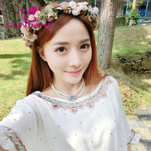 Seaside Holiday Simulation Flowers Crown Elastic Tie Back Hair Band/Headband Wedding Decorations