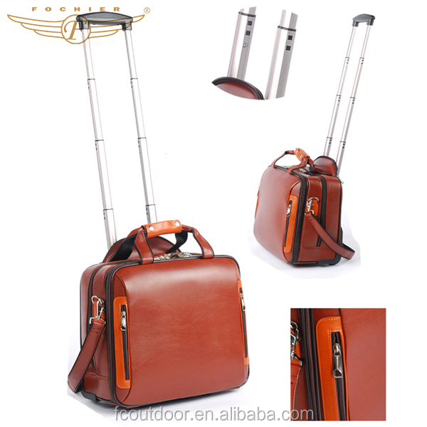 High Quality Women PU Leather 16 Inch Laptop Trolley Bag