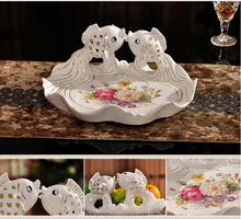 New product Home Decor Fish Shape Candy Plate Ceramic Flower Bowl Plate wholesale
