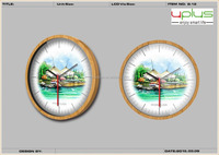 painting scenery dial round 10 or 12 inch wooden wall clock for promotion