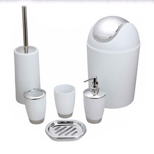 6 Piece Bathroom Accessories Bath Toilet Brush Set
