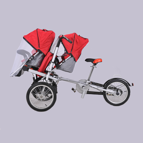 Patent 2017 hot three wheels folding mother & baby stroller bike