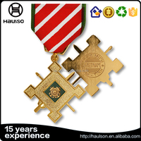 24k 18k gold copper material us military shiny gold with hard enamel and colorful ribbon navy cross brass color medal medallions