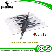 40units Disposable Tattoo Tube Silicone Grip 19MM with Needle 5F