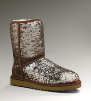 Sequin all over upper cheap women's snow boots made in china