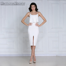 W612 white sexy knee length spaghetti straps front split bodycon ruffle <strong>dress</strong>