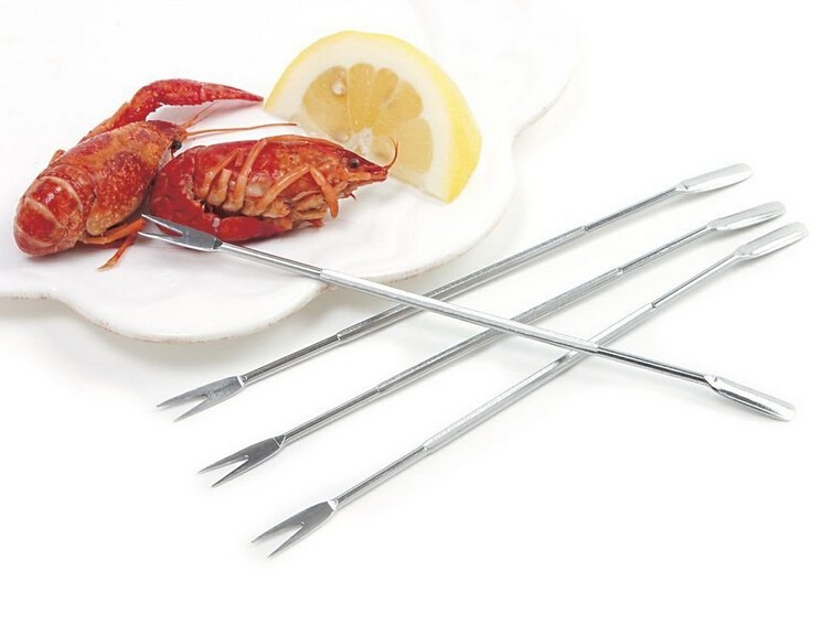 Best selling 8pcs seafood serving tool seafood long pick, seafood fork
