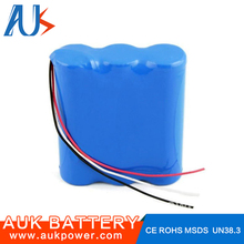 Customized size small 12v 18650 rechargeable lithium battery 2600mah for camping light
