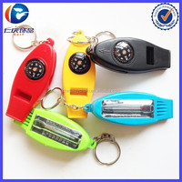 4IN1 Compass Thermometer Whistle Magnifier Versatile with Key fob