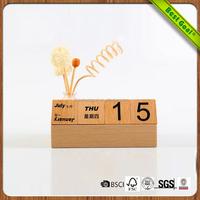 Wholesale Desktop Wooden Stand Decoration Wood Perpetual Calendar