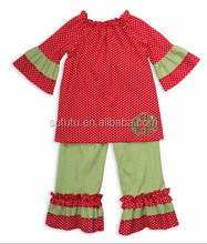 Wholesale smocked childrens wear and long sleeve christmas ruffle pants tunics ecuador clothing.