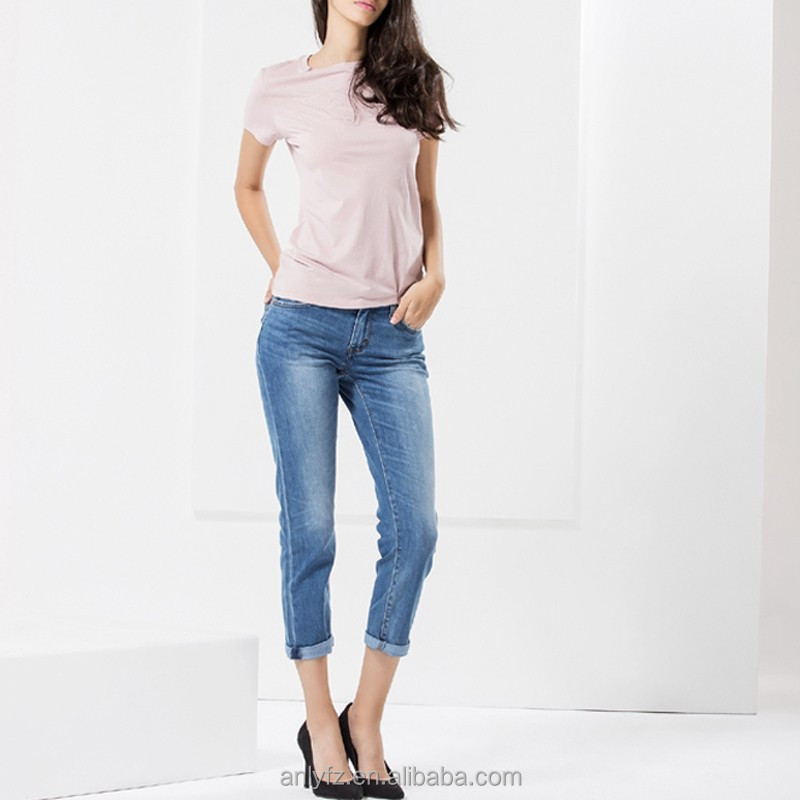 hot selling boyfriend lady's light blue washed jeans for girls