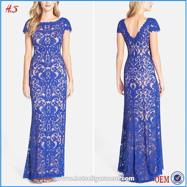 Wholesales Evening Designs Latest Regular Or Petite Long Lace Column Blue Dress For Woman