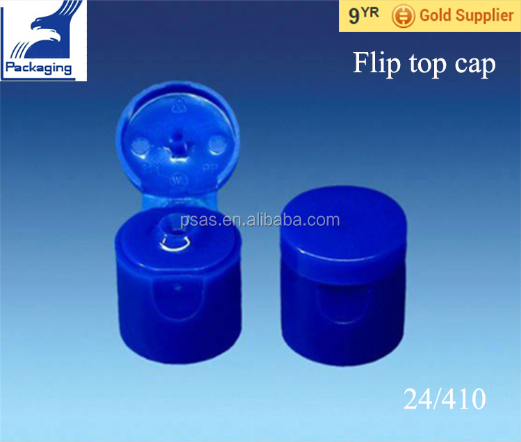 24/410 Blue plastic container Cap flip top closure for bottle