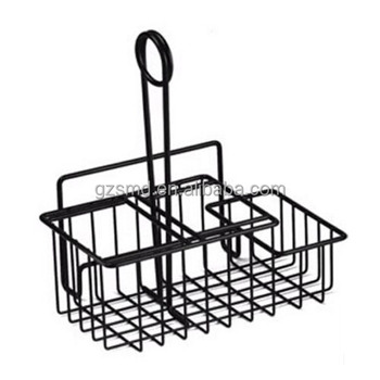 Kitchen Restaurant Serving Usage Black Metal Wire 3 compartment Table Caddy with Menu Holder