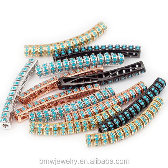 Micro Pave Turquoise CZ Twill Curved Tube Beads for 2mm Leather Cord Findings