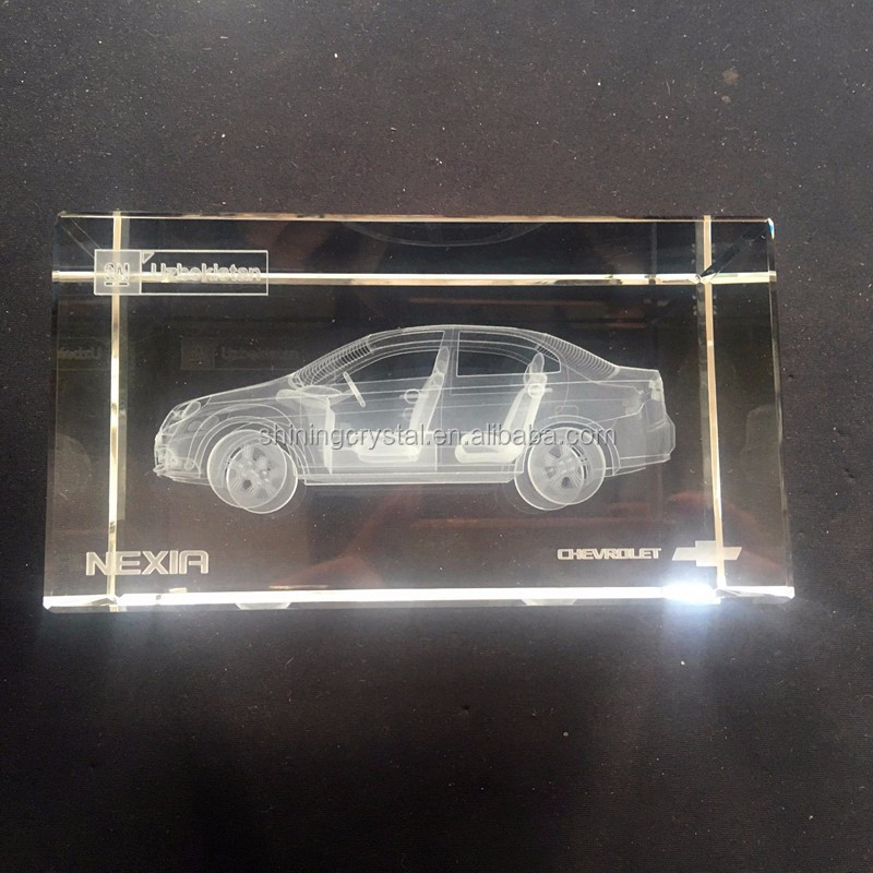 3d Glass Blocks Engraving 3D Crystal Block with car model