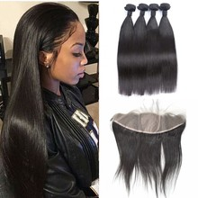 10A Cheap Straight 13x4 Silk Base Frontal With Hair Weaves Bundles Natural Black Peruvian Silk Lace Frontal