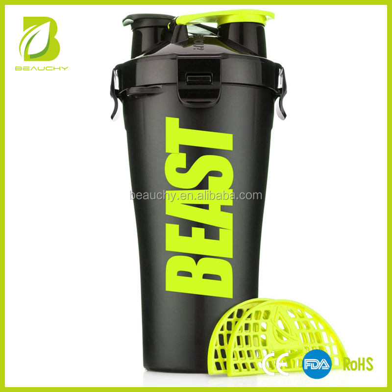 Beauchy 2017 dual shaker bottle 700ml NEW design BPA Free sports drinking water bottle plastic