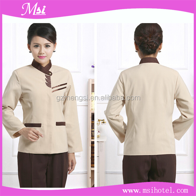 Custom Cheap Long Sleeve Hotel Housekeeping Staff Uniform Factory Uniforms