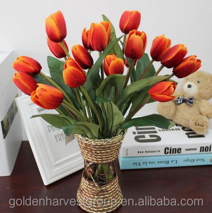 9 heads whole sale artificial silk tulip bouquet for home decoration