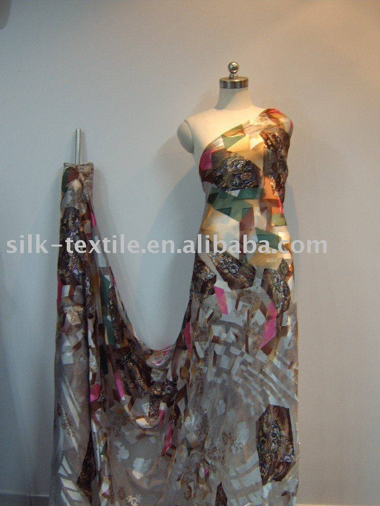 printing and Burn out Silk Viscose Satin fabric fro women fashion