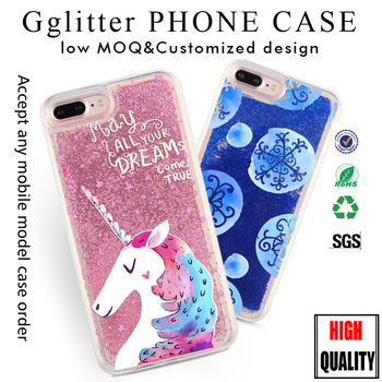 2017 New Design Custom Printing Glitter Liquid Phone Case for iPhone 7 6splus Unicorn Glitter Case for Samsung Galaxy S7 j7edge
