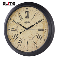 Large metal material train station wall clock with painting case