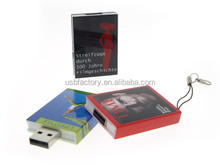 Real Memory book shaped usb flash drive 16gb, Plastic books pen drive with full printing logo keys promo gifts slide usbs