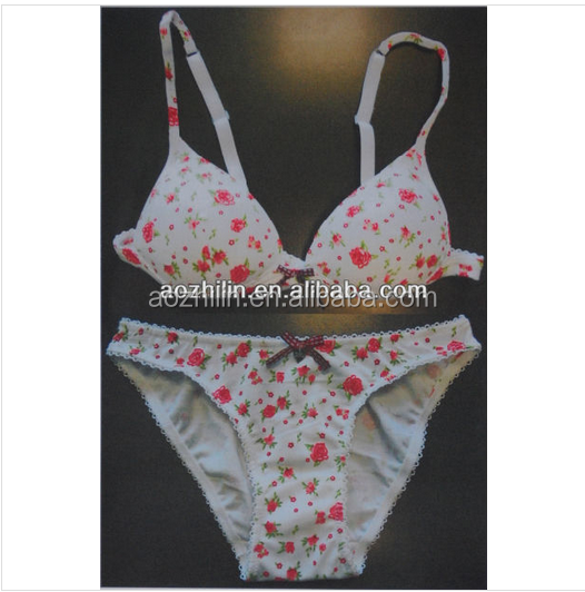 Young Girls Cotton Bra Briefs with Small Flowers Printing