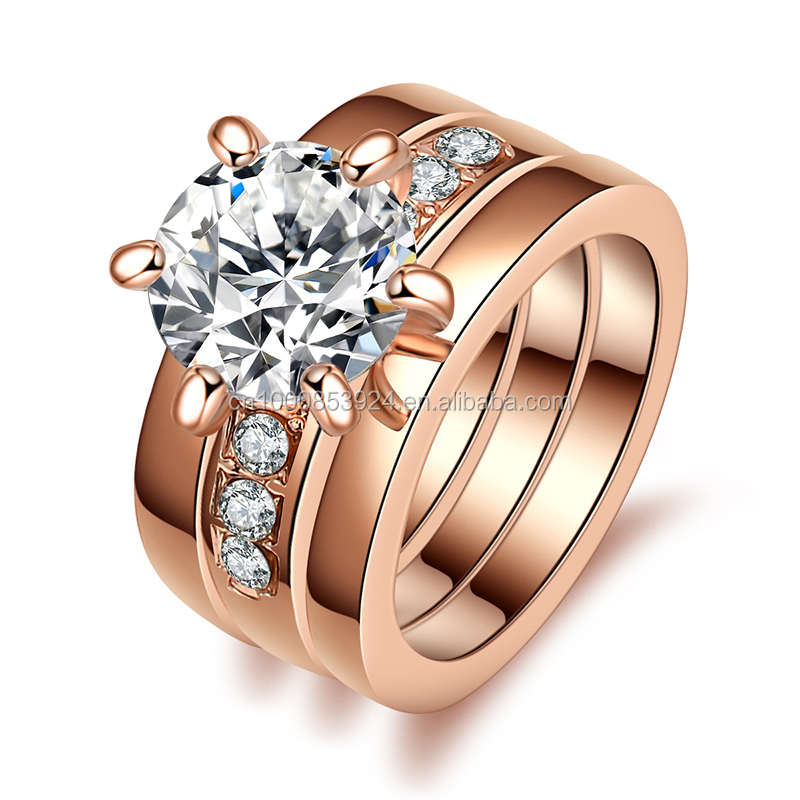 Rose Gold Wedding Jewelry Rings Set Include 3 Pieces Rings With Austrian Crystal Stellux Cubic Zirconia ring Women