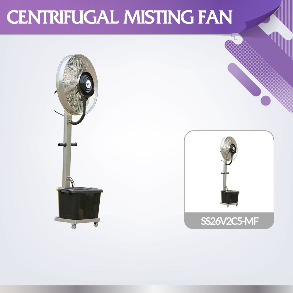 CE ROHS approval adjustable water flow SS26V2C5-MF outdoor stand misting fan