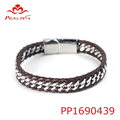 New jewelry real leather custom men magnetic bracelet