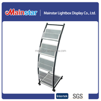 Customized Metal Brochure/Flyer Holder, Magazine Display Stand with Wheels
