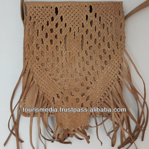 Light tan moroccan handmade shoulder bag braided leather bags