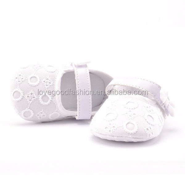 2016 New Arrival White Crochet Cotton Baby Girls Dress Shoes Newborn Shoes