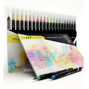 20+1 set blendable watercolor brush pen set with drawing pad