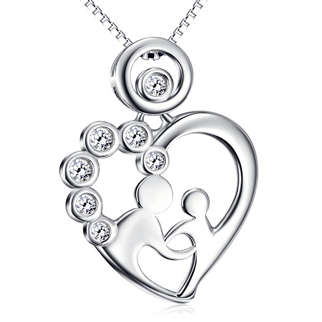 Silver CZ mother and child necklace