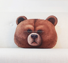 3D printing bear cushion , brown bear pillow , creative animal cushion