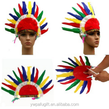 party accessories multicolor indian feather headpiece