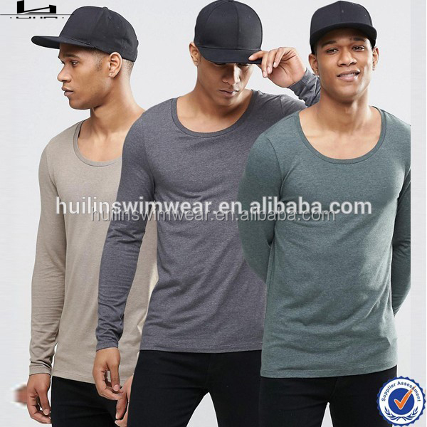 Wholesale Factory Oem Design Scoop Neck 3 Pack Long Sleeve T-Shirt For Men T Shirt