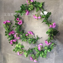 Flowerking brand ivy flower rattan rose selling artificial plastic hanging rattan for wall decoration ivy
